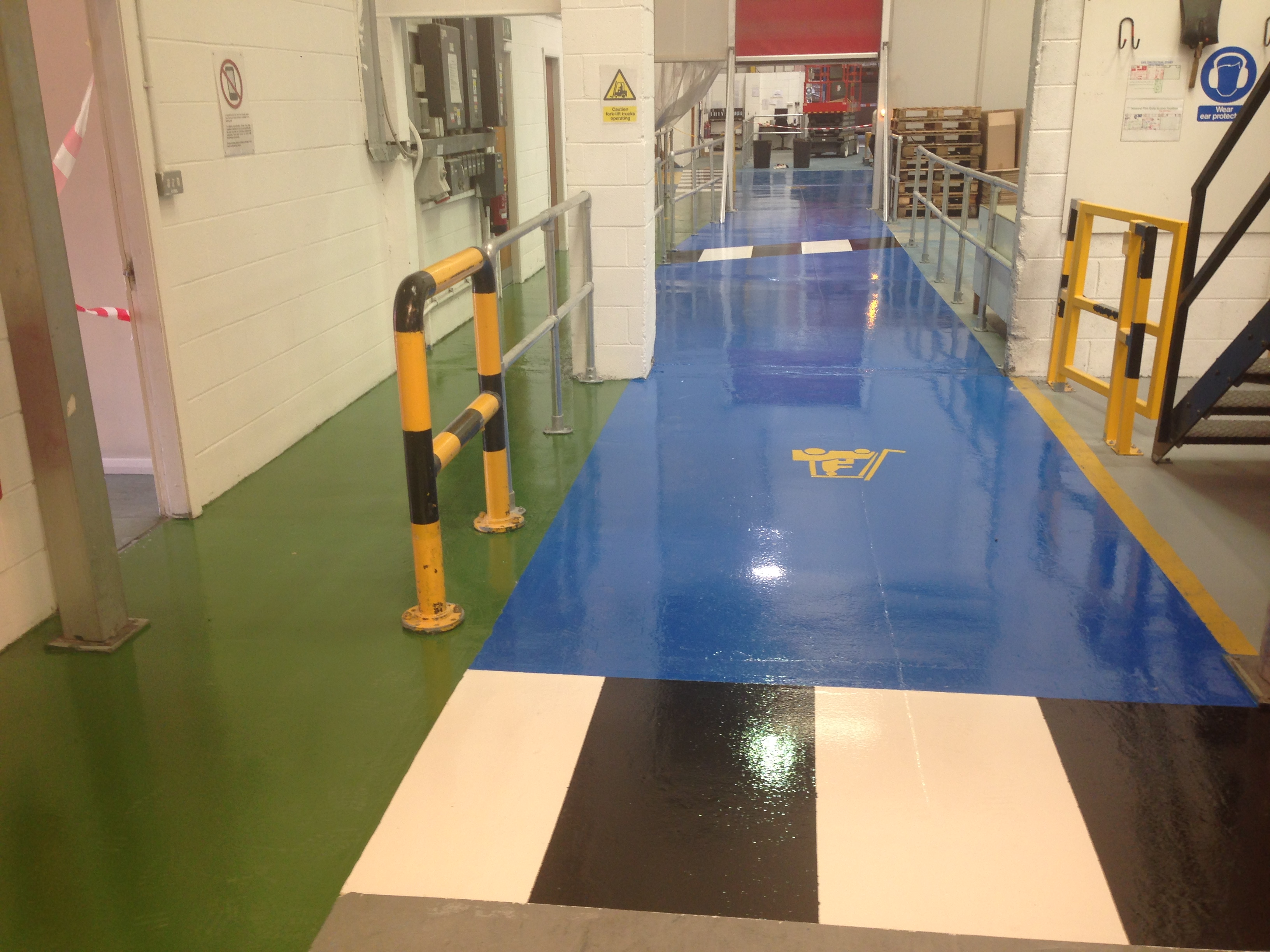 Epoxy coating resin flooring used to highlight areas