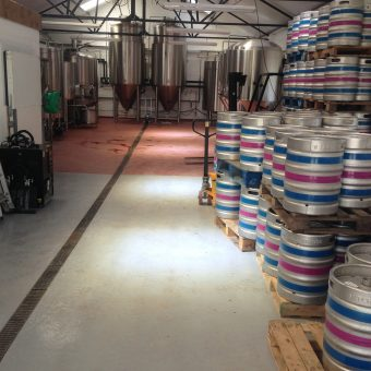 Hygenic resin floor screed laid to falls in a brewery