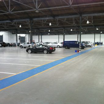 Car storage areas with details lines and walkways all in resin floor coatings