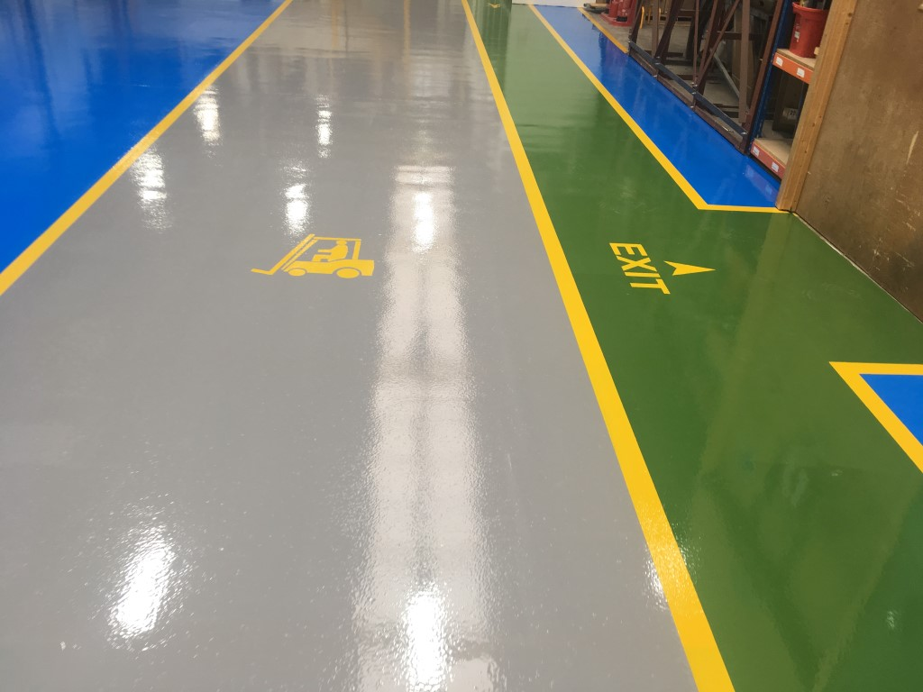 Resin flooring line markings in manchester manufacturing area